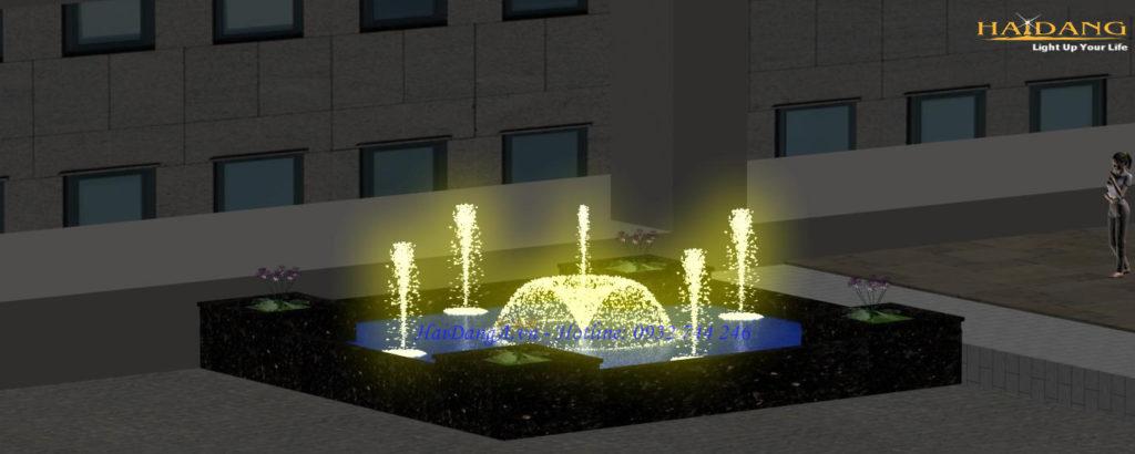 Đài phun nước hồ vuông mini vòi phun xòe hoa loa kèn ở tâm và 4 vòi phun sủi bọt xung quanh