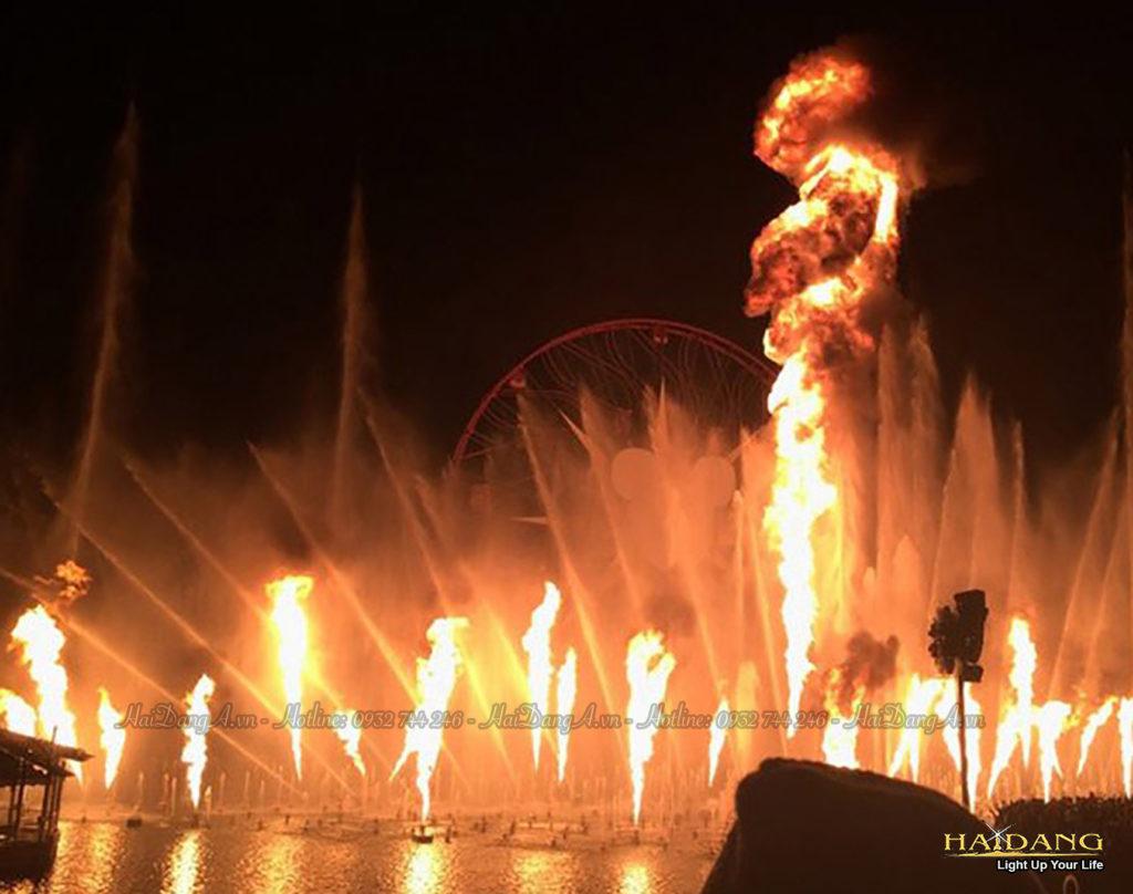 Phun lửa dưới nước phun lên của hệ thống nhạc nước