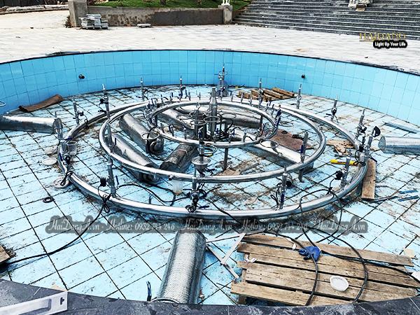 Hệ thống đường ống đài phun nhạc nước tại Tea Resort